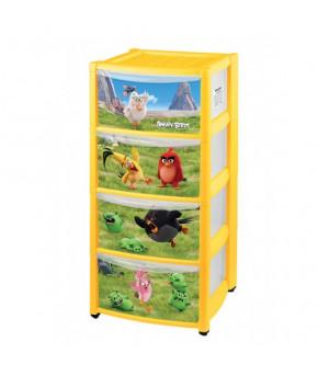 "Комод ""Пластишка"" Angry Birds на колесах с аппликацией, 4 ящика"