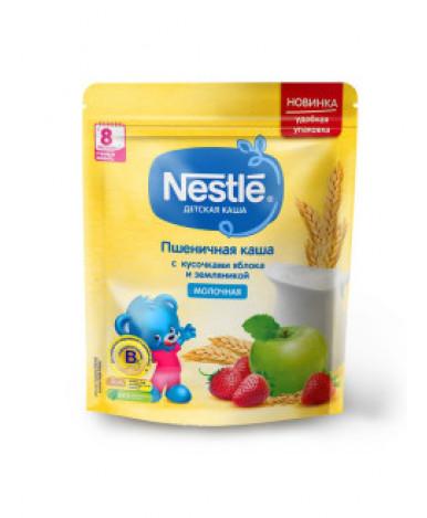 Каша Nestle пшеничная с кусочками яблока и земляники молочная дой-пак 220г