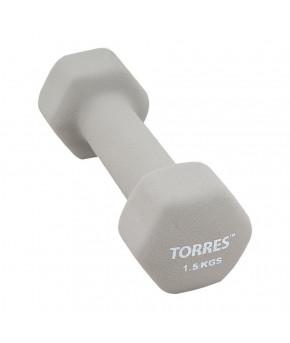"""Гантель """"TORRES 1.5 кг"""" , металл в неопреновой оболочке, форма шестигранник, серый"""