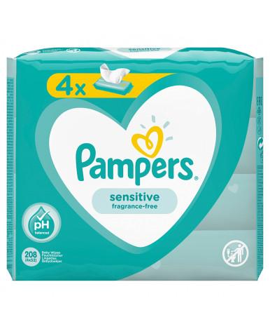 Салфетки влажные Pampers Sensitive Quadro 4х52шт