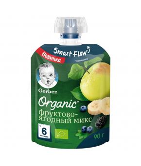 Пюре Gerber Organic фруктово-ягодный микс gualapack 90г