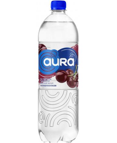 Вода Aura питьевая газированная со вкусом черешни 1,0л