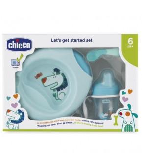 """Набор детской посуды """"Chicco"""" голубой, 6 мес+"""