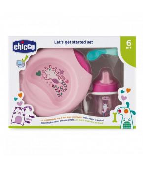"""Набор детской посуды """"Chicco"""" розовый, 6 мес+"""