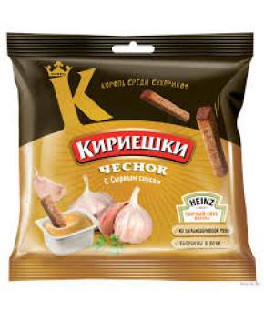 """Сухарики """"Кириешки"""" с чеснока с сырным соусом 60г+25г"""