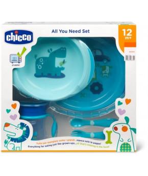 """Набор детской посуды """"Chicco"""" голубой, 12 мес+"""