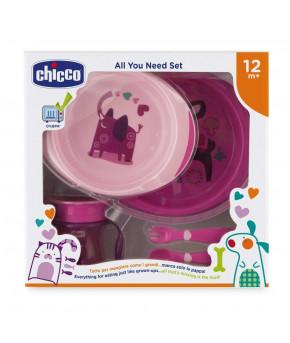 """Набор детской посуды """"Chicco"""" розовый, 12 мес+"""