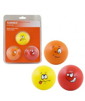 """Мячи-антистресс """"TORRES """" 3 мяча диам. 6,5 см, полиуретан, красный, оранжевый, желтый"""