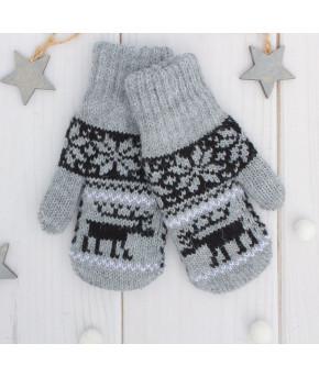 Варежки двойные детские Северное сияние размер 11, цвет серый меланж/чёрный/белый