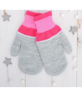 Варежки двойные для девочки Спектр размер 17, цвет светло-серый, розовый/красный