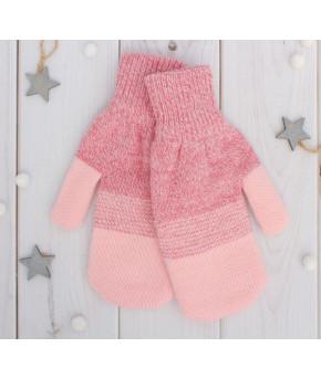Варежки двойные для девочки Сезам размер 16, цвет розовый/розовый меланж