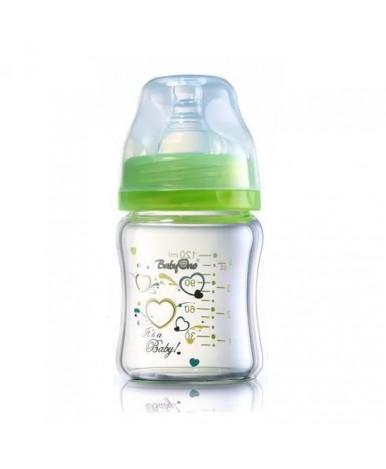 Бутылочка BabyOno с широким горлышком из боро-кремниевого стекла 120 мл