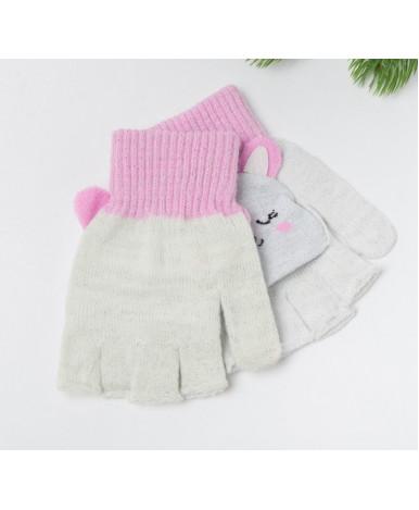 Варежки детские MINAKU Зайка размер 19, цвет розовый/серебро