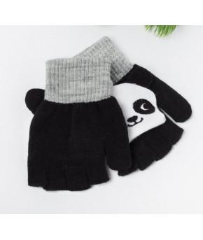 Варежки детские MINAKU Панда размер 19, цвет чёрный/белый