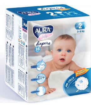 Подгузники AURA baby 2S (3-6 кг) 16 шт