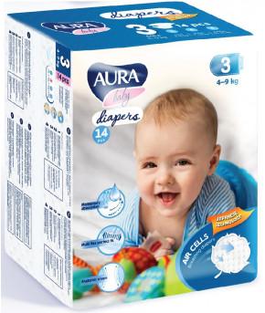Подгузники AURA baby 3M (4-9 кг) 14 шт