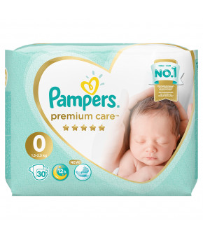 Подгузники Pampers Premium Care 0 (1,5-2,5 кг) 30шт
