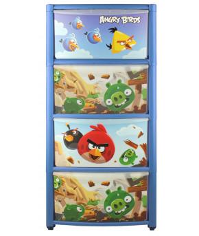 Комод Пластишка с аппликацией на колёсах Angry Birds 4 ящика, синий