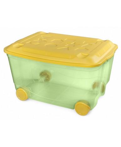 "Ящик ""Пластишка"" с аппликацией на колесиках  580х390х335 мм зеленый"