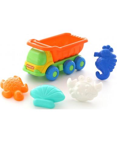 Автомобиль-самосвал + формочки Полесье (краб №2 + морской конёк + ракушка №2 + черепаха)