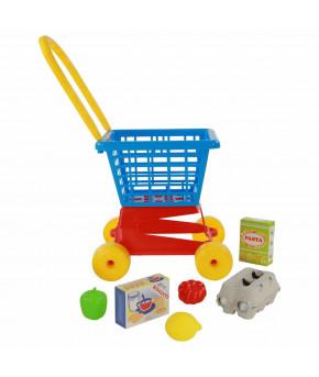 Тележка Полесье Supermarket №1 + набор продуктов №2 (в сеточке)