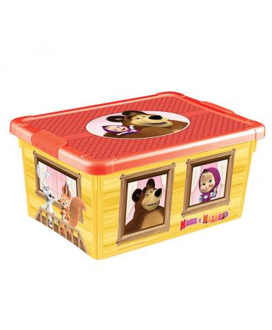 Ящик Пластишка универсальный Маша и медведь с аппликацией 335х240х155 мм