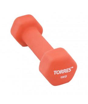 """Гантель """"TORRES 1 кг"""" , металл в неопреновой оболочке, форма шестигранник, красный"""
