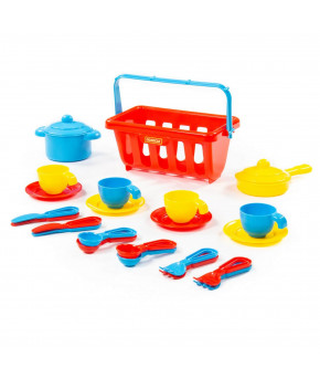 Набор детской посуды Полесье TOP chef с корзинкой №2 на 4 персоны (в сеточке)