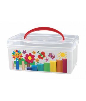 Коробка универсальная Пластишка с ручкой и декором  245х160х108 мм