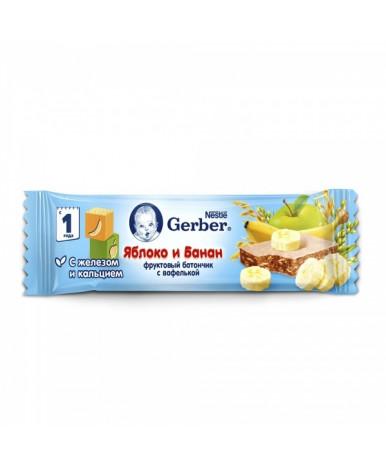 """Батончик """"Gerber"""" фруктовый, с яблоком и бананом 25г"""