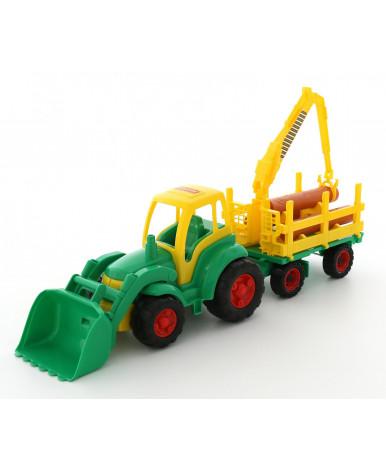 """""""Чемпион"""", трактор с ковшом + прицеп-лесовоз (в сеточке)"""