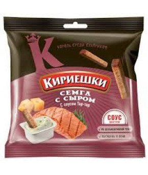 "Сухарики ""Кириешки"" с сыра и семги с соусом тар-тар 60г+25г"