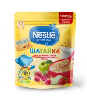 Каша Nestle шагайка 5 злаков земляника яблоко малина молочная дой-пак 200г