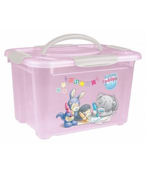 Коробка универсальная Пластишка с ручкой с аппликацией Me to you розовый 5,5л