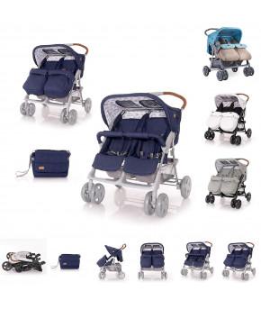 Детская коляска для двойни Lorelli Twin Grey Black Cross 2020