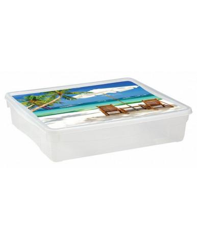 """Ящик """"Пластишка"""" универсальный с аппликацией 9л, 400х335х85 мм (цвет в ассортименте)"""