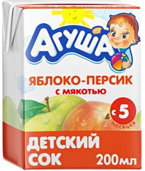 Сок Агуша яблоко и персик 200мл