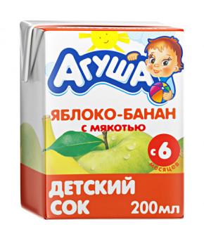 Сок Агуша яблоко и банан с мякотью 200мл