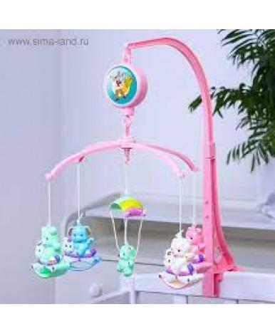 Каруселька Зверюшки на качалке с пластиковыми игрушками