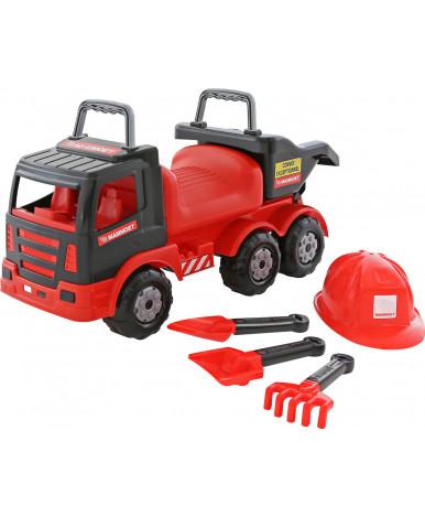 Автомобиль-каталка Полесье MAMMOET 200-02 + совок + каска + грабли + лопата