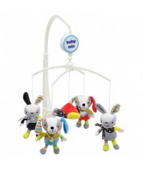 Каруселька BabyMix Зайки и собачки с плюшевыми игрушками