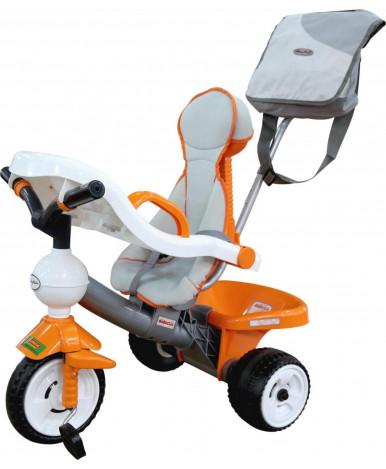Велосипед трехколёсный Полесье Дидактик с игровой панелью, ручкой, ремешком, чехлом и сумкой
