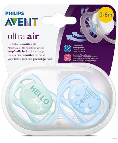Пустышка Avent Ultra Air силиконовая ортодонтическая для мальчика 0-6 мес