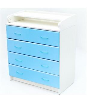 Комод Bambini B 01 белый/голубой, 4ящика