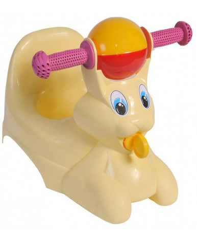 Горшок-игрушка Little Angel Зайчик с рулём и погремушкой, пастельный