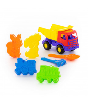 Автомобиль-самосвал + лопатка Полесье №5, грабельки №5, формочки (самосвал + паровоз +