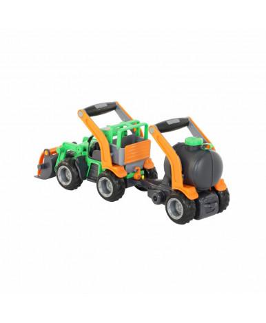 Автомобиль Полесье ГрипТрак трактор погрузчик с цистерной