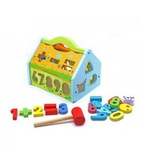 Развивающая игрушка-сортер Дом деревянная K999-105B