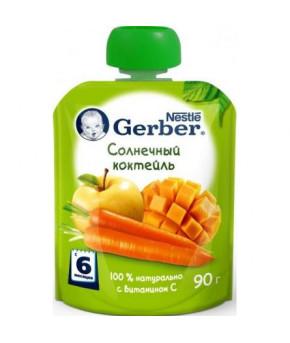 """Пюре """"Gerber"""" gualapack солнечный коктейль, 80гр"""