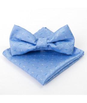 Набор детский галстук бабочка 10Х5, платок 18Х18, п/э, голубой   2529892